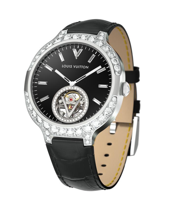 路易威登Voyager飛行陀飛輪腕表,18K白金鑲鑽表殼搭配縞瑪瑙表盤、長方形鑽...
