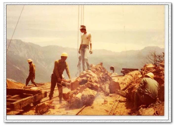 花蓮林管處嵐山工作站當年伐木的熱鬧景象。圖/花蓮林管處提供