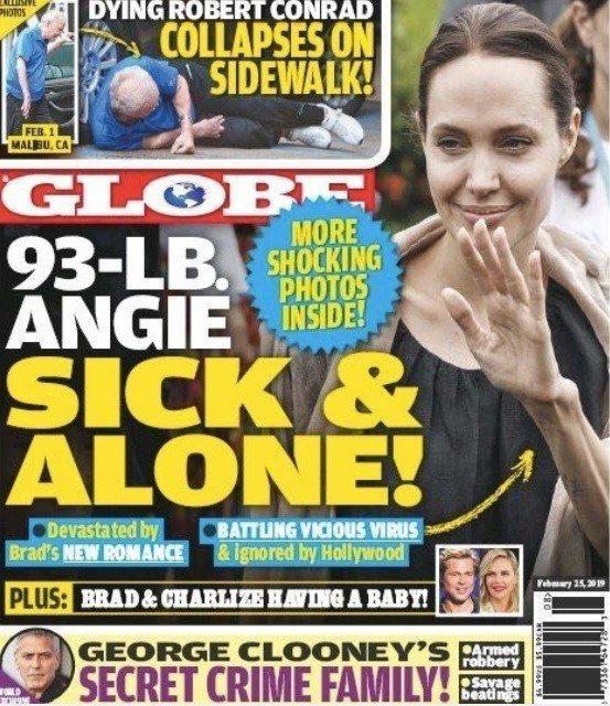 安琪莉娜裘莉被傳因前夫的新戀情憔悴暴瘦。圖/摘自GLOBE