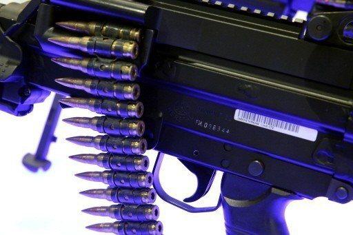 比利時FN Herstal公司製造的5.56毫米Minimi機槍在阿布達比國際防...