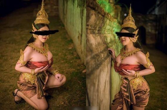 攝影師因逕自分享巨乳性感模特兒的古裝照,引發網友反彈。圖/翻攝自《新泰日報》