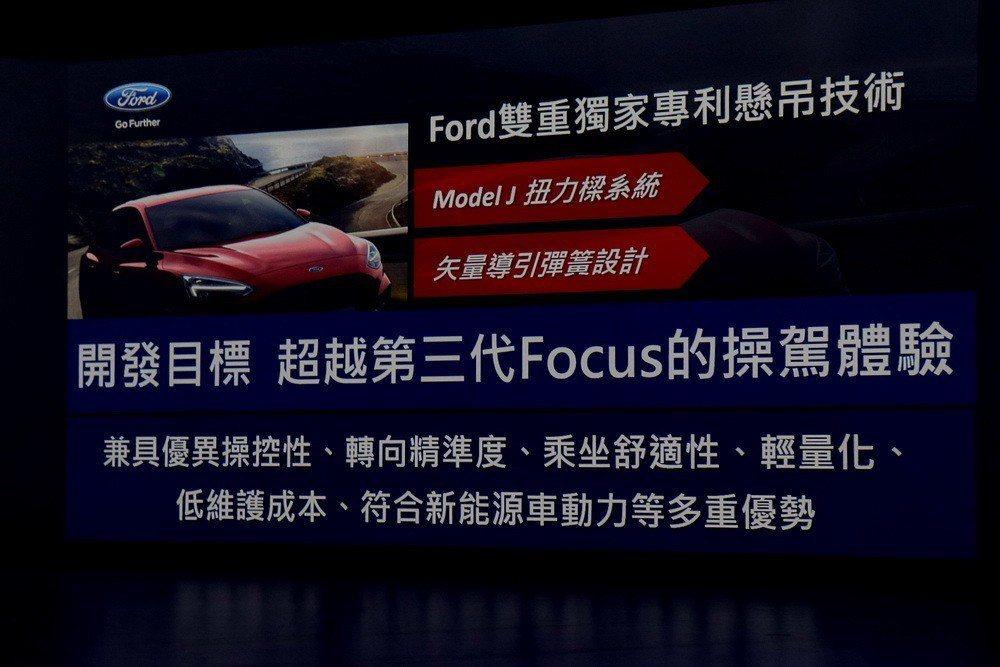 全新Focus的後懸吊從本來的多連桿換成了扭力樑,透過採用獨家Model J扭力...