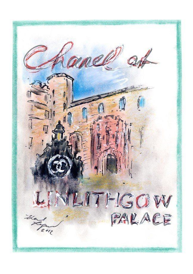 卡爾拉格斐手繪圖印製的邀請卡。圖/摘自La Chanelphile