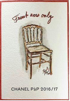 卡爾拉格斐手繪圖印製的邀請卡。圖/摘自Pinterest