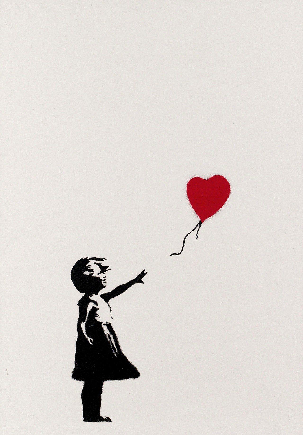 去年拍賣後自毀的2004年作品《女孩與氣球》,拍賣後改名《垃圾桶中的愛》。圖/富...
