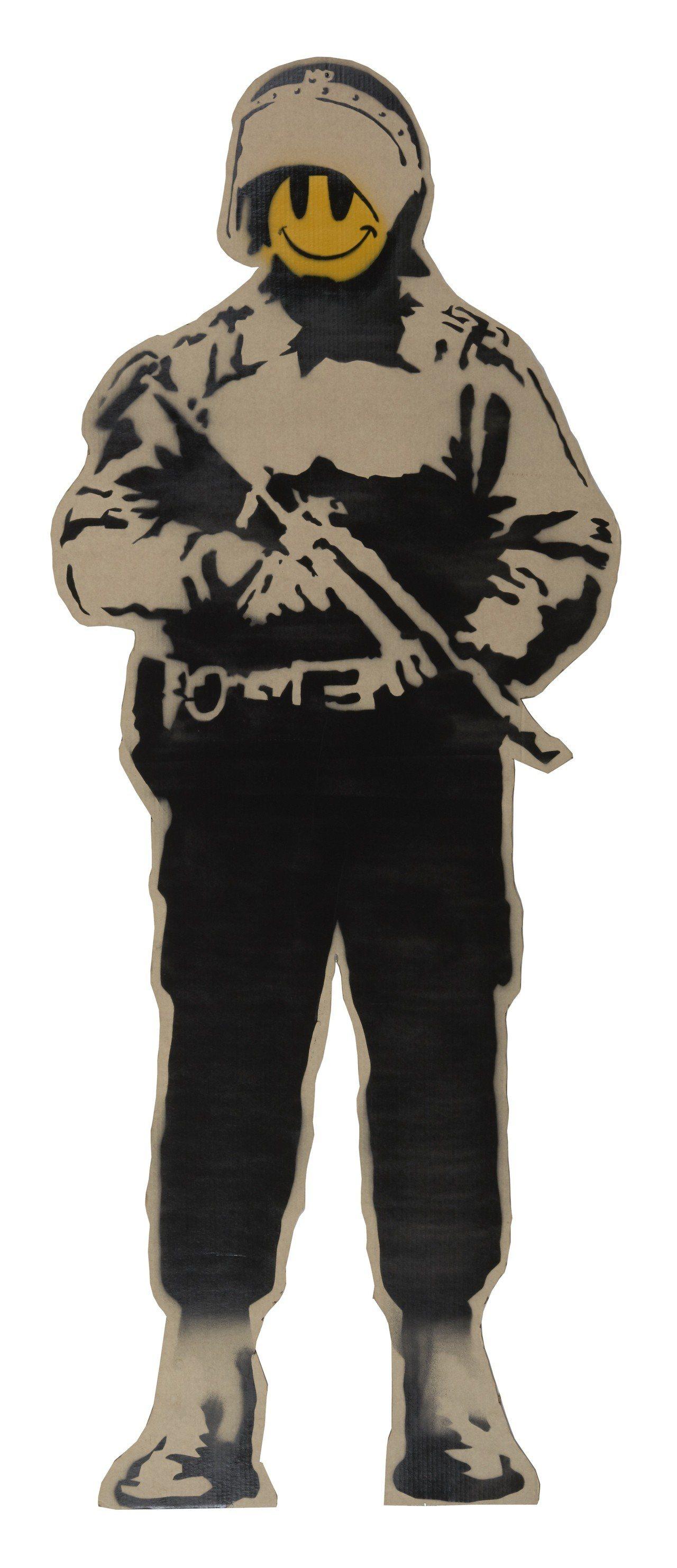 Banksy作品《Smiling Copper》,2003年作品。圖/富藝斯拍賣...