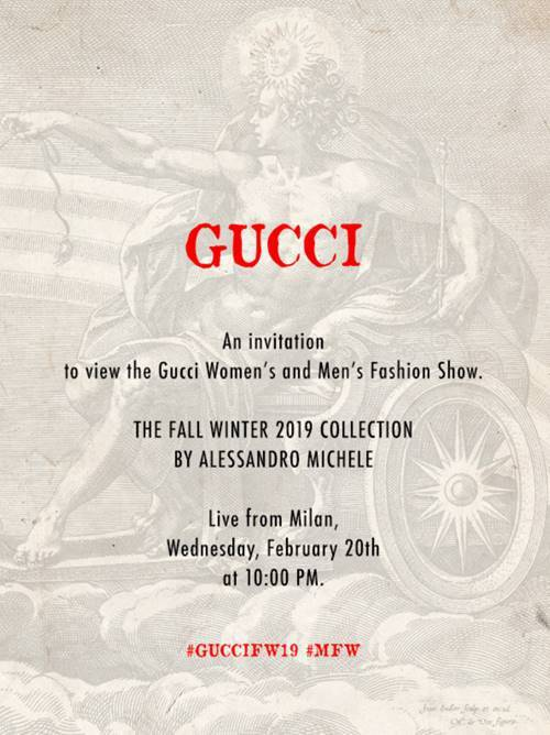 2019秋冬米蘭時裝周開跑,話題不斷的人氣時尚品牌Gucci這次依舊打頭陣,將在...