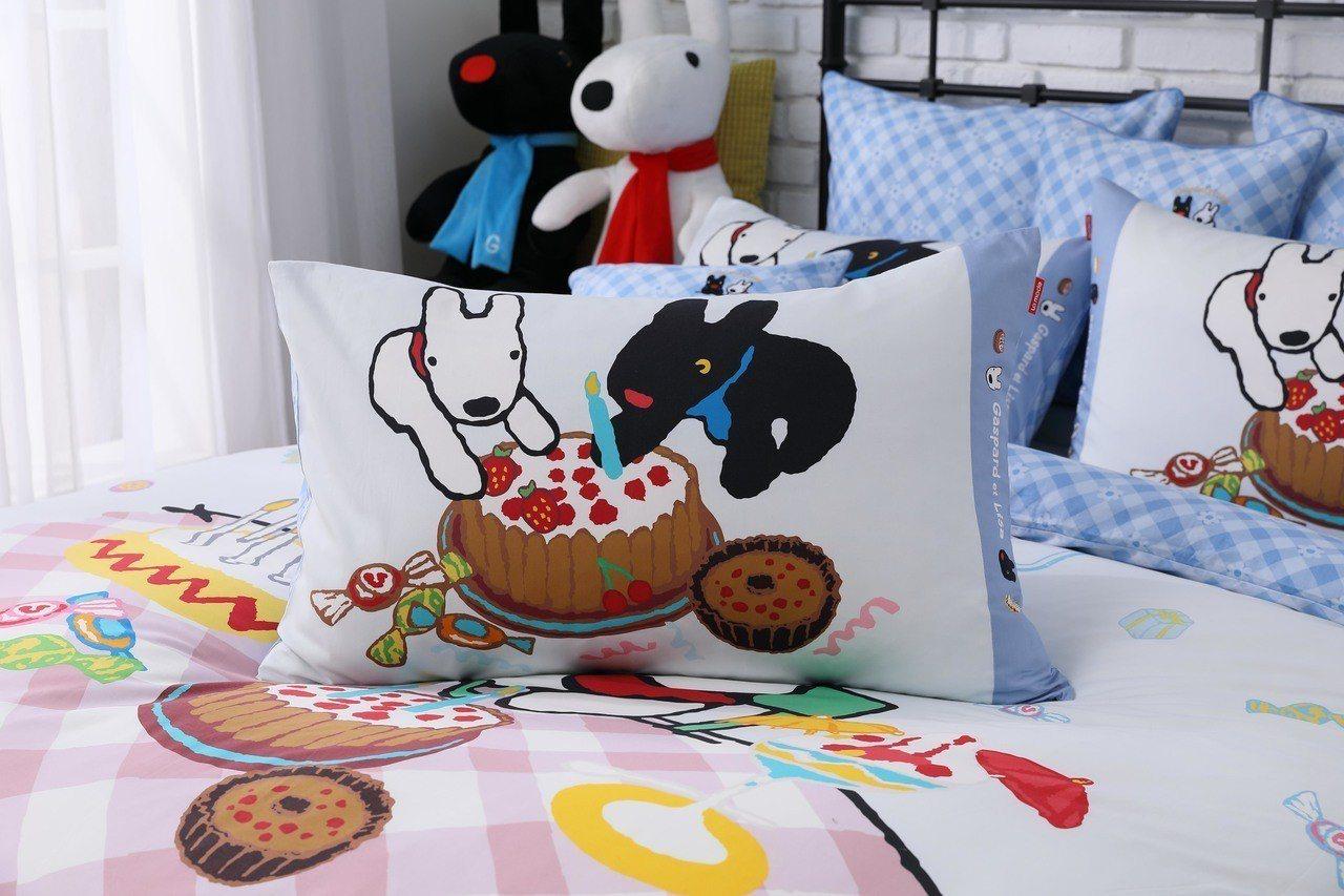 枕頭套的設計,是以信封式做法,為讓麗莎和卡斯柏圖樣。圖/La mode提供