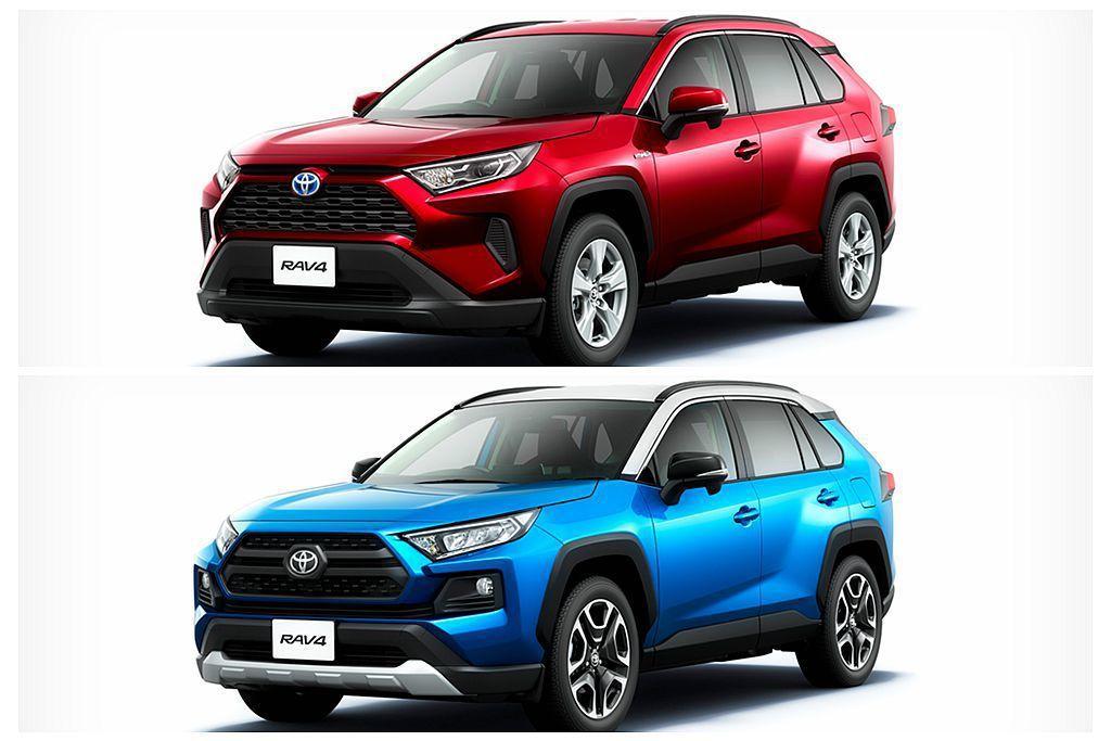 日規全新第五代Toyota RAV4和台灣相同具備兩種外觀風格,推估將提供2.5...