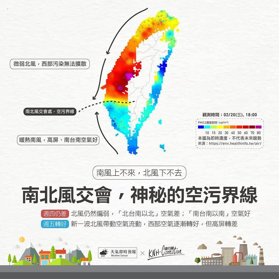 臉書「天氣即時預報」以圖片說明「神祕的空汙界線」。圖/「天氣即時預報」臉書
