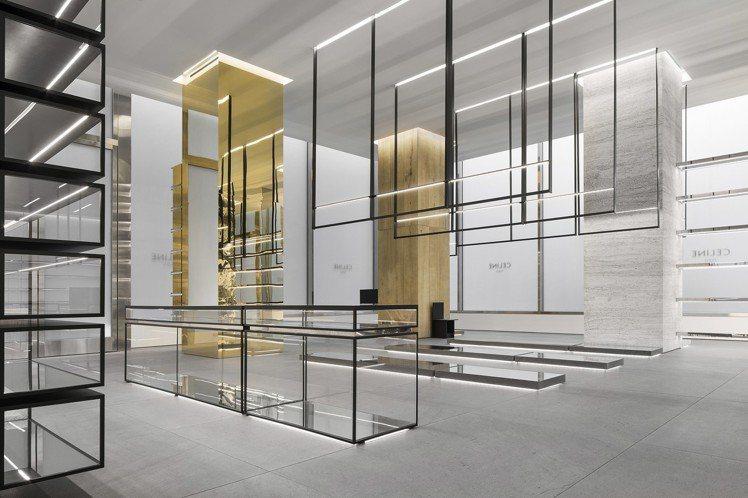 水泥、拋光不鏽鋼、黃銅、金色鏡面以及回收再製的橡木等,架構出冷靜的氛圍。圖/CE...