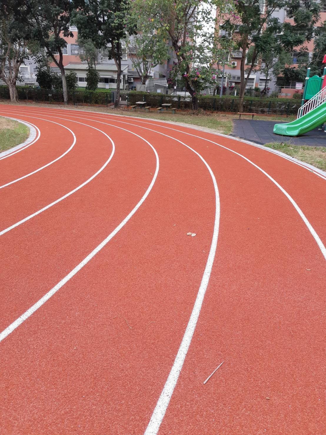 嘉義市大同國小的PU跑道本月15日啟用,環境煥然一新。圖/蔡坤龍提供