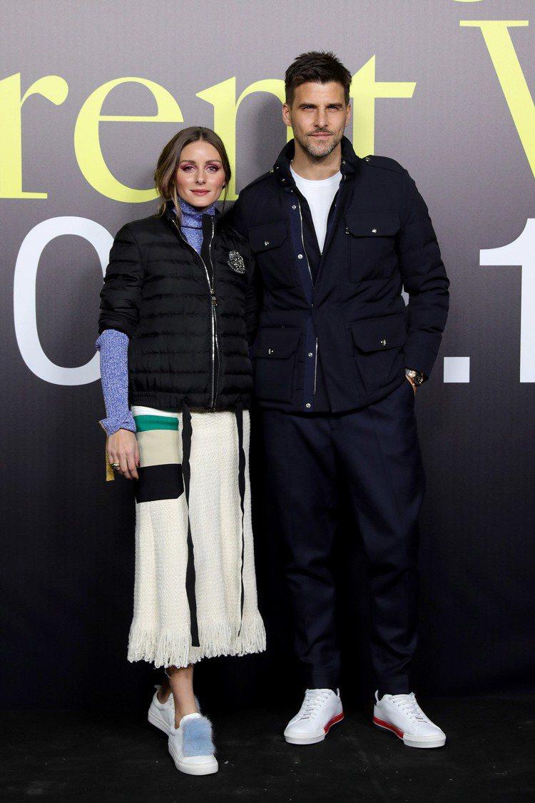 紐約名媛Olivia Palermo與男模老公Johannes Huebl。圖/...