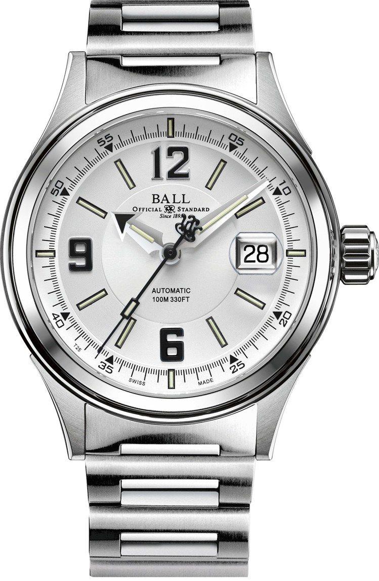 波爾表BALL Watch Fireman Racer腕表,不鏽鋼表殼鍊帶搭配黑...