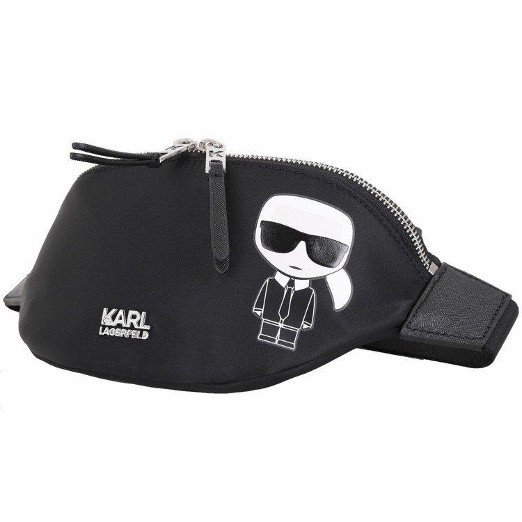 Karl Lagerfeld老佛爺圖案尼龍胸肩包/腰包最快被網購粉絲搶空。圖/Y...
