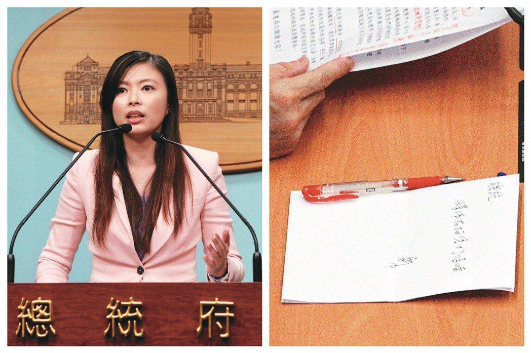 總統府前發言人李佳霏曾遞紙條提醒前總統馬英九「媒體在拍您打瞌睡」,聲名大噪。 圖...