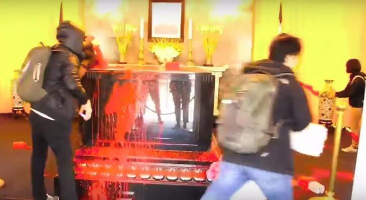 桃園慈湖蔣公陵寢228遭潑漆。圖/聯合報系資料照片