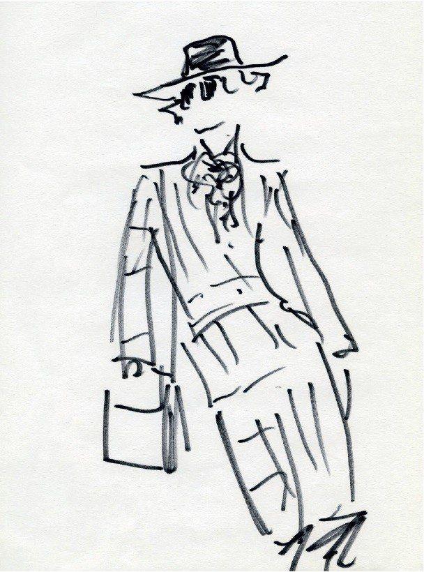 卡爾拉格斐回想自己第一天加入FENDI時的模樣所繪製的插畫。圖/FENDI提供