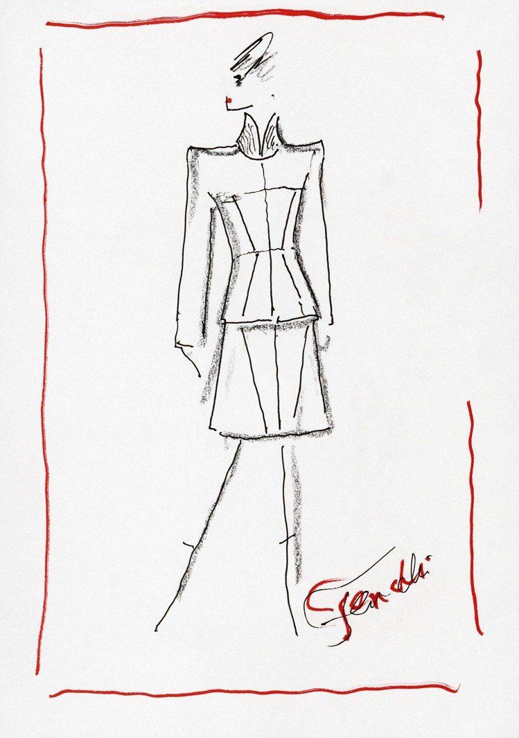卡爾拉格斐為FENDI 2019系列繪製的設計草圖。圖/FENDI提供