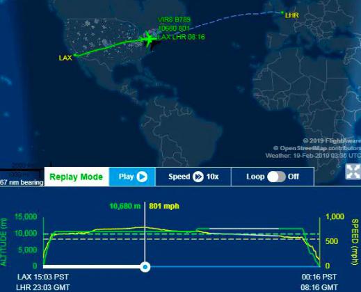 英國維珍航空一架從洛杉磯飛往倫敦的班機,18日因為遇到強烈氣流,刷新速度紀錄。截...