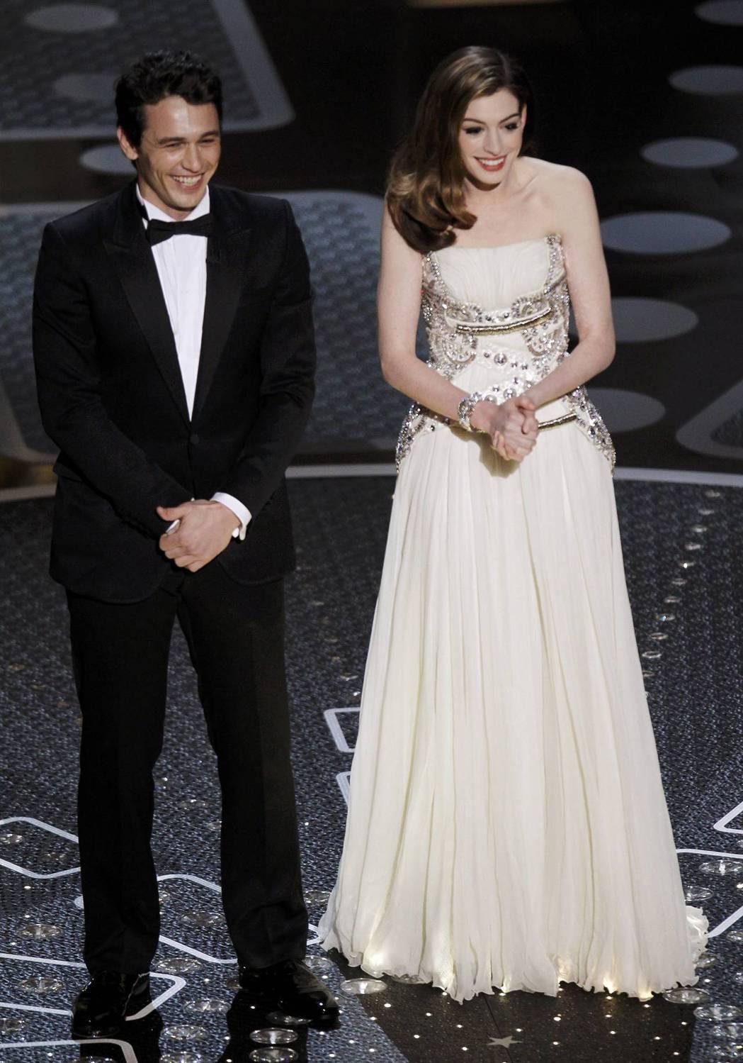 詹姆斯法蘭柯與安海瑟薇被公認是史上最差的奧斯卡頒獎典禮主持組合。圖/路透資料照片