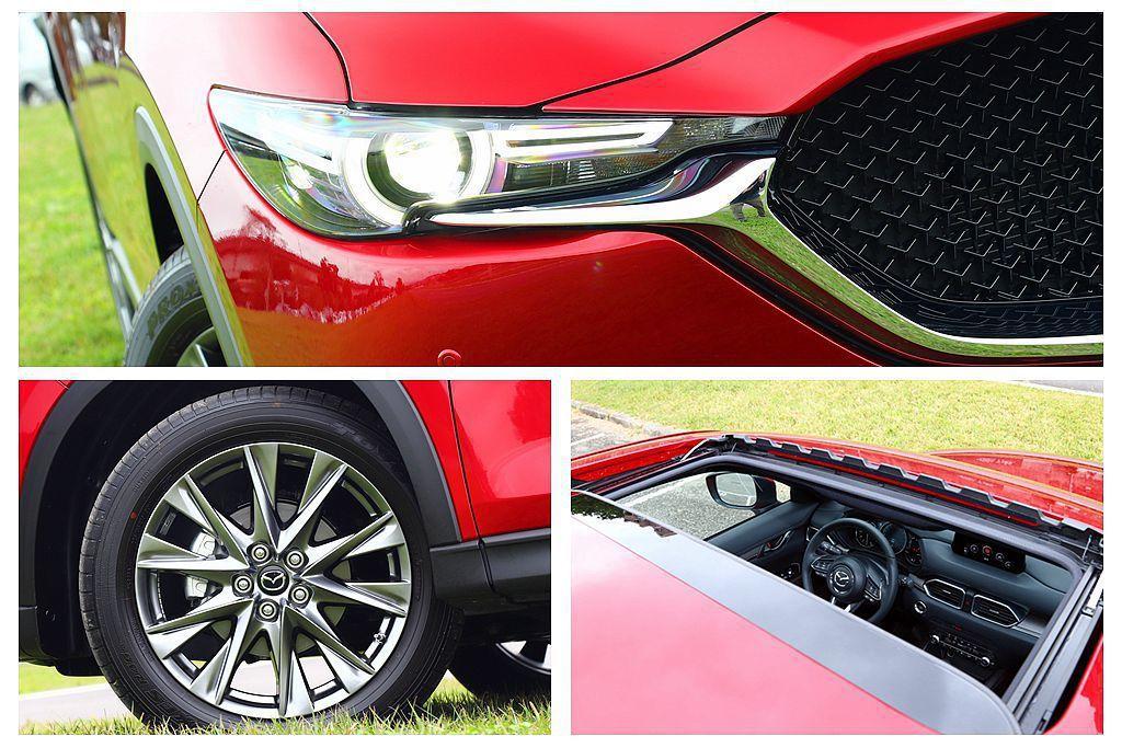 Mazda CX-5 SKY-G 2.5L AWD旗艦進化型換上造型不同的槍色19吋輪框,並配有ALH智慧型頭燈以及全車型中唯一才有的電動天窗。 攝影/記者張振群