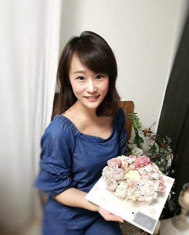李宛儒製作裱花蛋糕成品華麗。圖/李宛儒提供