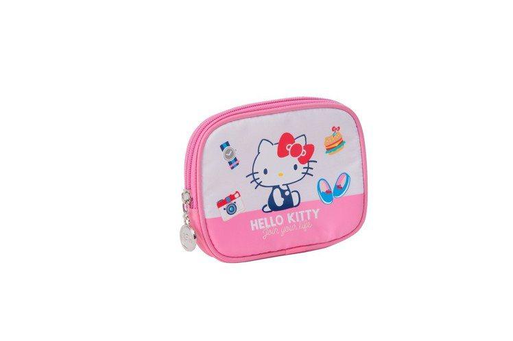 Hello Kitty 45周年經典萬用包,加購價129元,限量8,000個。圖...