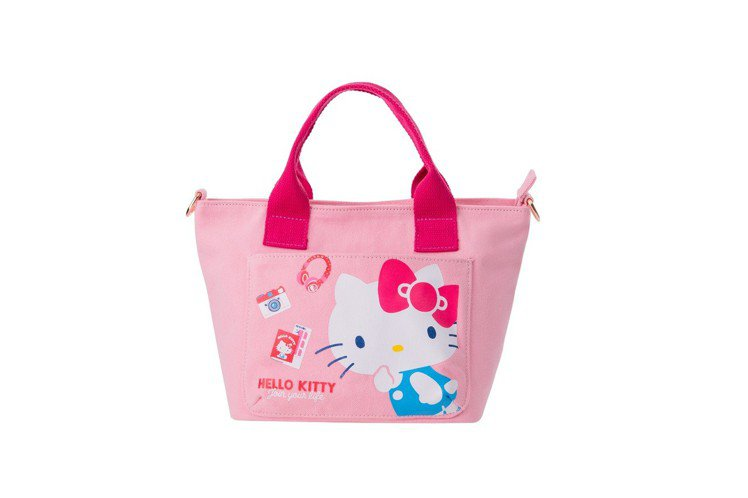 Hello Kitty 45周年可愛手提袋,加購價219元,限量13,000個。...