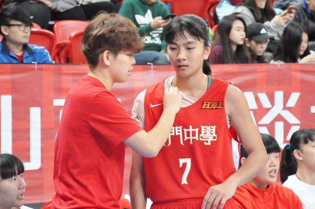 普門陳郁婷(右)右肩韌帶撕裂,上場前要用繃帶固定。記者曾思儒/攝影