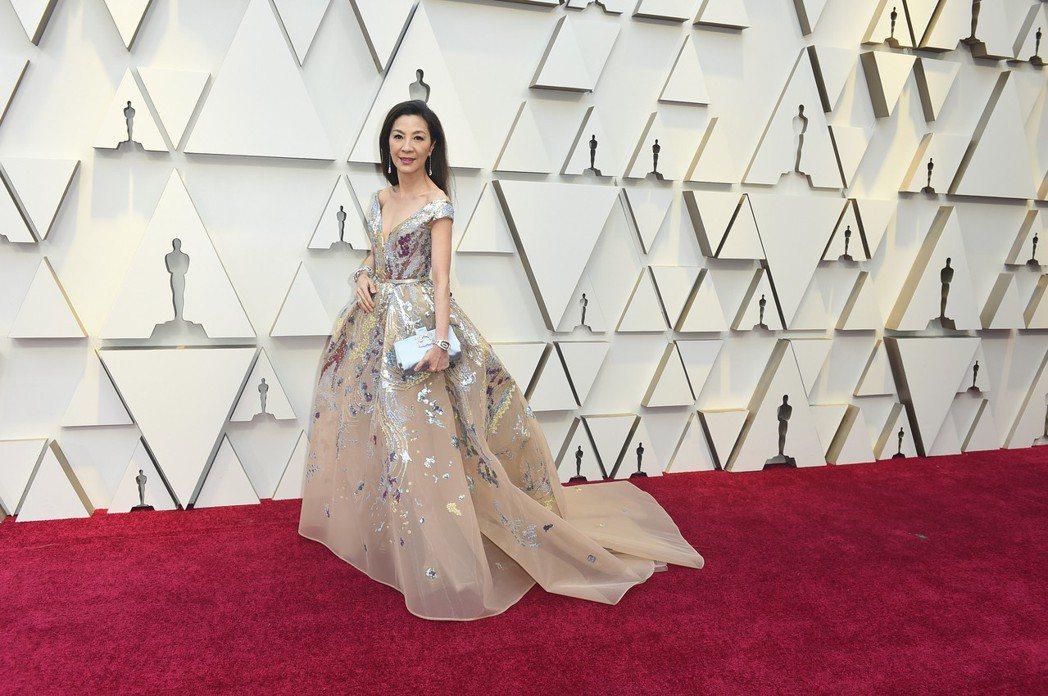 楊紫瓊出席2019奧斯卡金像獎頒獎典禮,穿著Elie Saab高級訂製服,搭配C...
