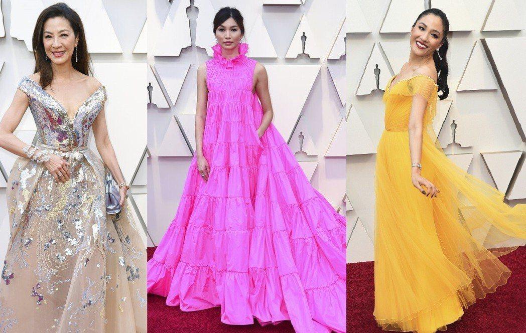 《瘋狂亞洲富豪Crazy Rich Asians》片中三位女星,由左至右為楊紫瓊