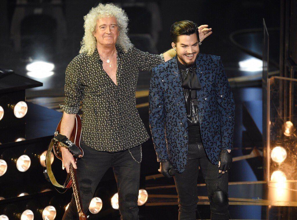 「皇后」與亞當藍伯特合作今年奧斯卡開場表演,讓台下群星瘋狂。圖/美聯社