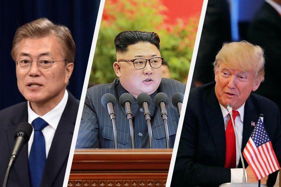 圖中從左到右非別是:南韓總統文在寅、北韓領導人金正恩與美國總統川普。法新社