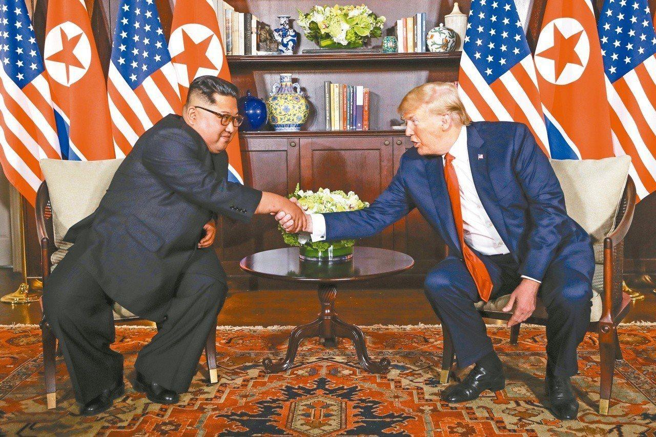 去年6月川金會,北韓領導人金正恩與川普會唔。路透