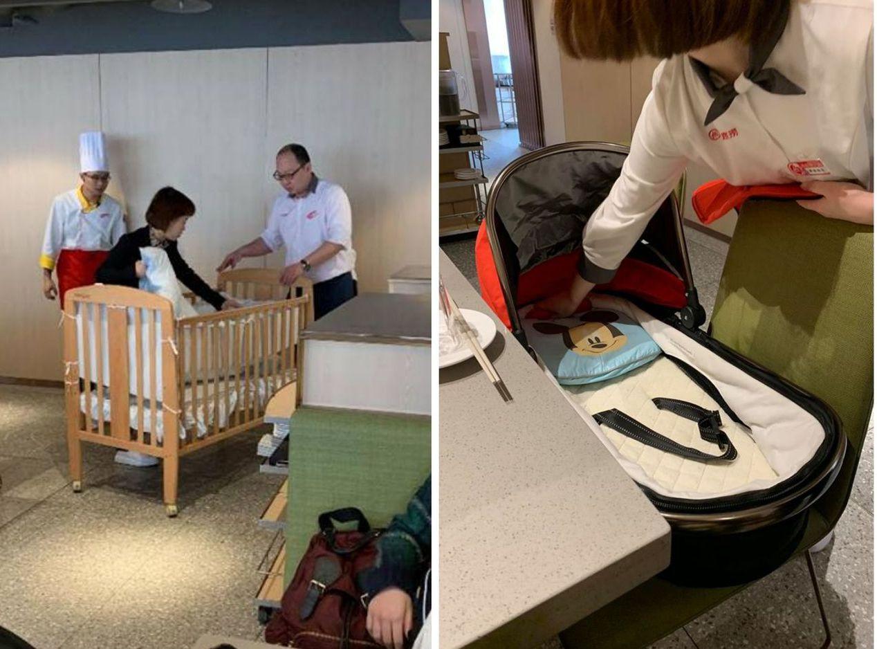海底撈店員看女網友帶著兩名小嬰兒,竟直接提供「嬰兒床」服務。圖片來源/爆廢公社