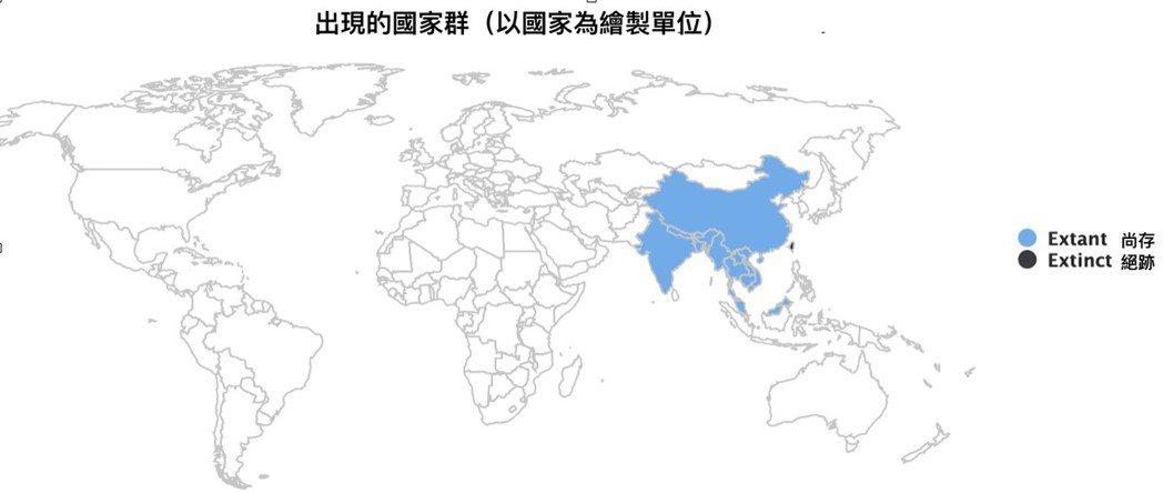 亞洲雲豹出現的國家群;需要注意,馬拉西亞境內東側的婆羅洲則是巽他雲豹(Neofelis diardi),並非亞洲雲豹。 圖/國際自然保育聯盟(IUCN)繪製