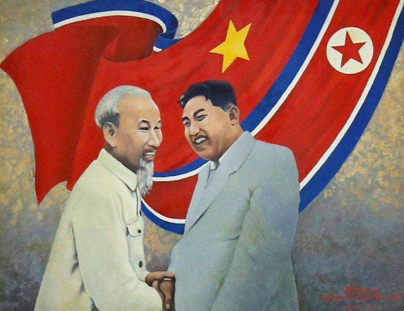 一幅描繪越南已故領導人胡志明與北韓已故領導人金日成會面的畫作。外媒指出,從近代史...