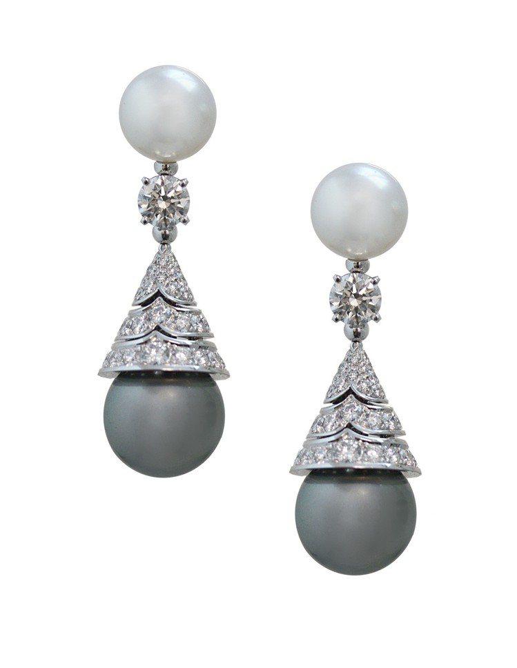 寶格麗Wild Pop MUSIC系列珍珠與鑽石耳環,白K金耳環,鑲嵌2顆大溪地...