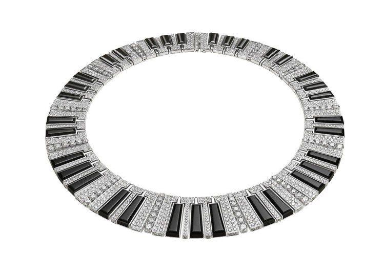 寶格麗Wild Pop MUSIC系列Synthesizer縞瑪瑙與鑽石項鍊,白...