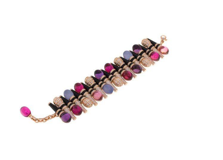 寶格麗Wild Pop MUSIC系列彩寶與鑽石手鍊,頂級玫瑰金手鍊,鑲嵌縞瑪瑙...
