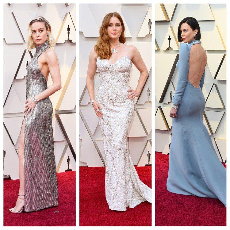 奧斯卡紅毯時尚:驚奇隊長布莉拉森(Brie Larson)(左),艾美亞當斯(A...