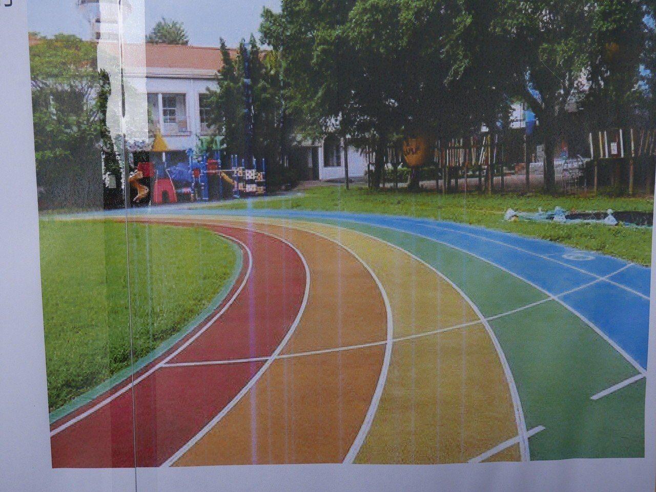 基隆市成功國小周邊的通學步道改善完畢,接下來將把校園操場跑道換五彩繽紛顏色。記者...