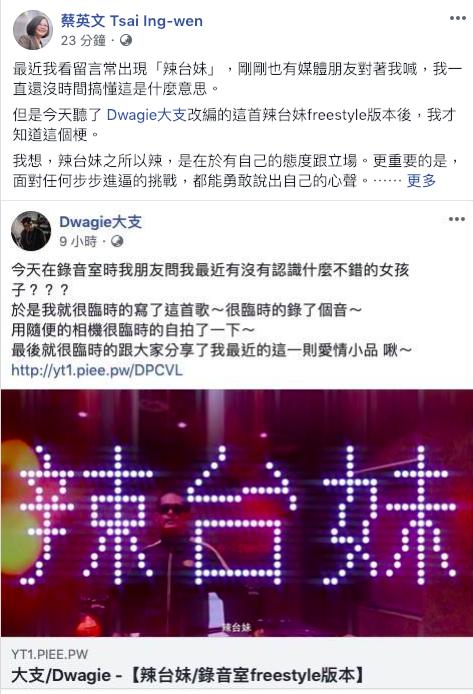 CNN播出蔡英文的專訪後,網友封小英是辣台妹,蔡總統在臉書回應。 圖/翻攝自蔡總...
