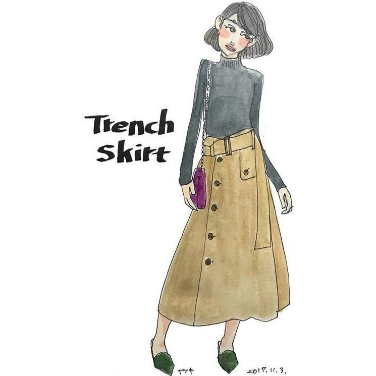 羅紋高領針織衫與斜排釦長裙,再背上小巧的單肩皮包,最適合和姊妹們一起逛街了。圖/...