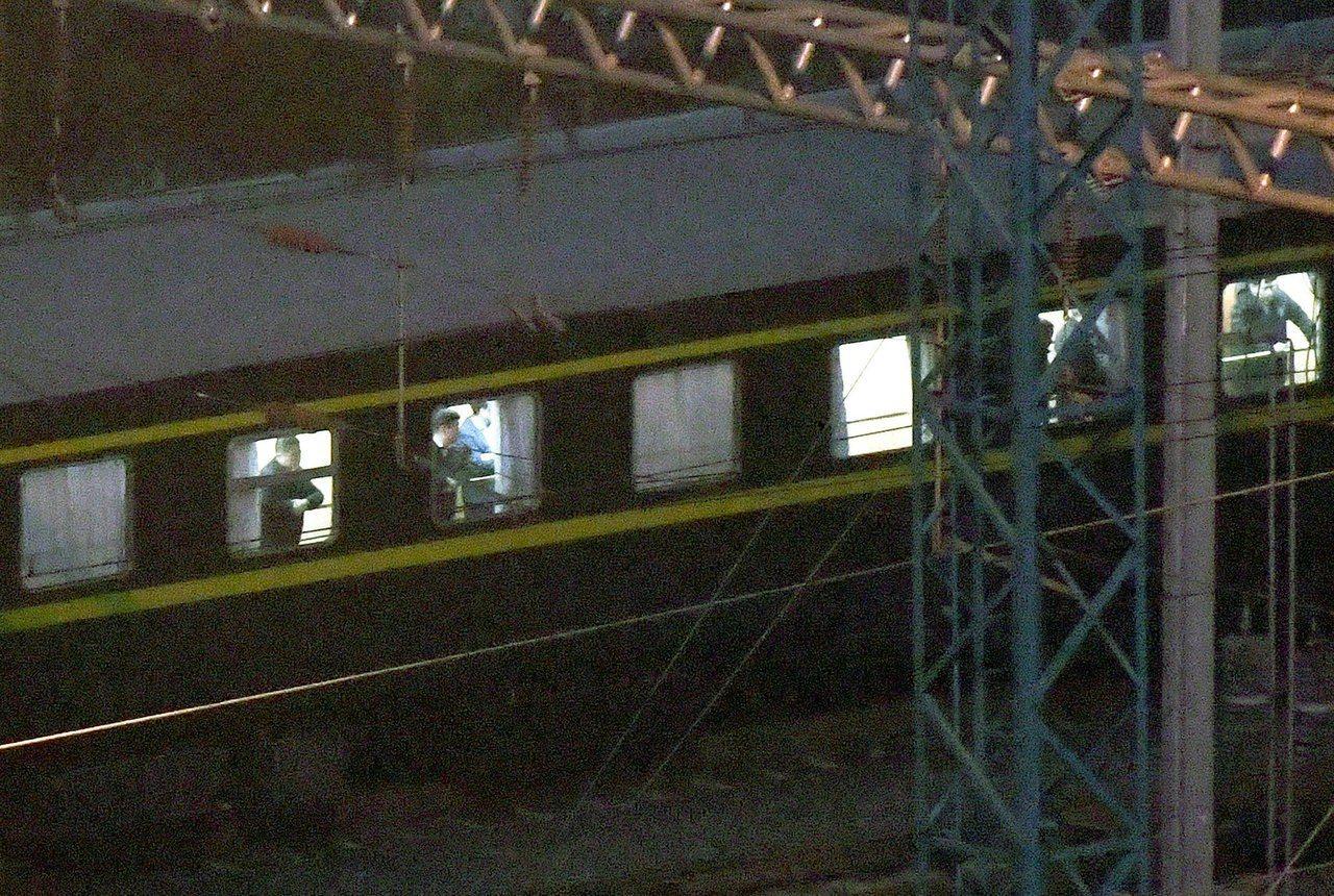 金正恩的專列停在大陸南寧火車站。圖/路透