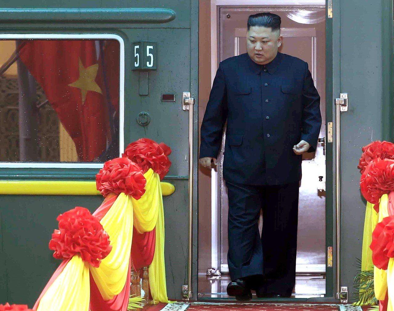 金正恩今天乘火車抵達越南。歐新社