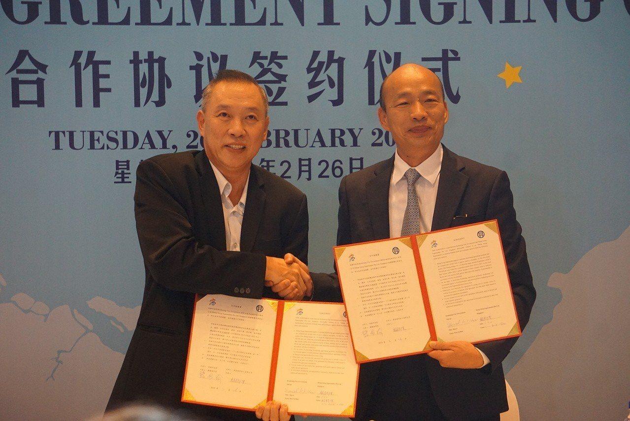 高雄市長韓國瑜(右)與昇菘集團CEO林福星(左)簽署農產採購合約。記者蔡孟妤╱攝...