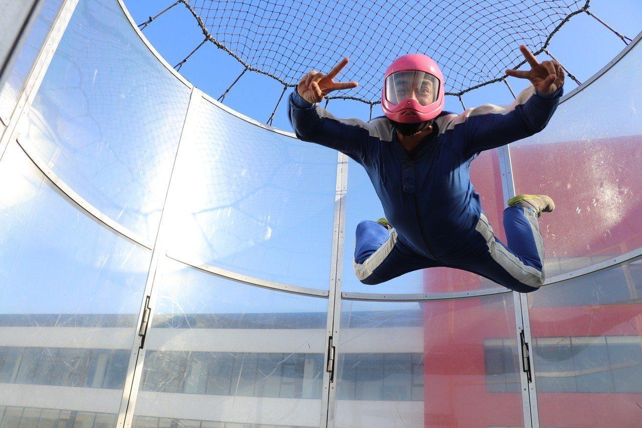 全台唯一一座「垂直風洞」可模擬時速230的高空飛行。圖/麗寶樂園提供