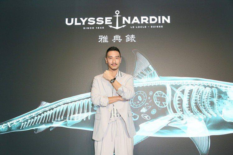 王陽明出席上市記者會配戴雅典奇想Freak X系列腕表。圖/雅典表提供